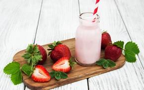 Картинка бутылка, клубника, йогурт, Olena Rudo