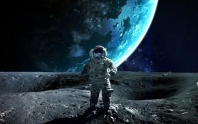 Картинка planet, astronaut, sci fi