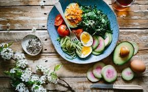 Картинка зелень, цветы, чай, яйцо, тарелка, помидоры, специи, авокадо, редис
