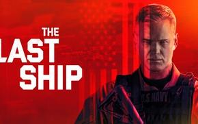 Картинка взгляд, актер, сериал, красный фон, Фильмы, The Last Ship, Последний корабль