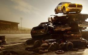 Картинка машины, гора, куча, Wreckfest