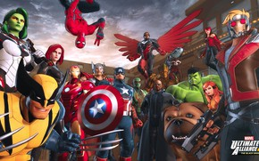 Картинка Hulk, Wolverine, X-Men, Marvel, Falcon, Iron man, Thor, Captain america, Spider-Man, Avengers, Rocket, Scarlet Witch, …