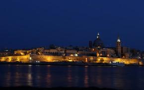 Картинка море, ночь, огни, побережье, остров, дома, государство, Мальта, Валлетта