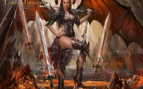 Картинка девушка, череп, меч, демонесса