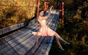 Картинка мост, Девушка, платье, сидит, Сергей Томашев, Наташа Синкевич