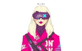 Картинка Очки, Стиль, Girl, Фон, Fantasy, Арт, Art, Style, Adidas, Фантастика, Nike, Illustration, Sci-Fi, Киберпанк, Cyberpunk, …