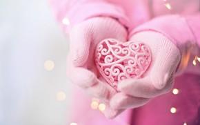 Картинка любовь, розовый, сердце, руки, день святого валентина, романтический