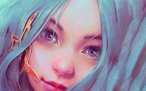 Картинка взгляд, девушка, лицо, голубые волосы