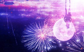 Картинка небо, вода, девушка, ночь, отражение, луна, фейерверк, Genshin Impact, Yoimiya, by JW