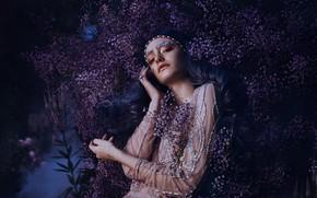 Картинка взгляд, девушка, цветы, поза, стиль, руки, макияж, платье, синие волосы