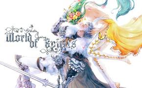 Картинка девушка, цветы, поцелуй, фея, парень, рыцарь, двое