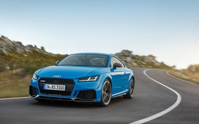 Картинка дорога, машина, Audi, разметка, фары, купе, поворот, TT RS, 2020