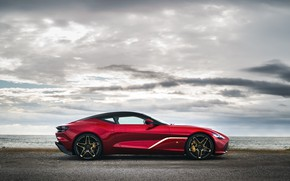 Картинка красный, Aston Martin, купе, в профиль, Zagato, 2020, V12 Twin-Turbo, DBS GT Zagato, 760 л.с.
