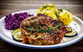 Картинка еда, мясо, овощи, специи, картошка