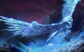 Картинка горы, люди, птица, лёд, Anivia, Legends of Runeterra