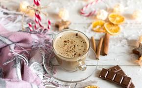 Картинка кофе, шоколад, чашка, плед, капучино, пряности