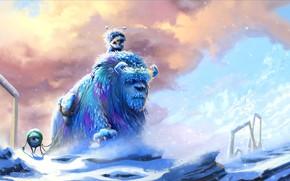 Картинка Зима, Монстры, Снег, Стиль, Мороз, Арт, Art, Winter, Frost, Style, Snow, Michael, Майк, Холод, Корпорация …