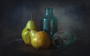 Картинка бутылки, натюрморт, груши