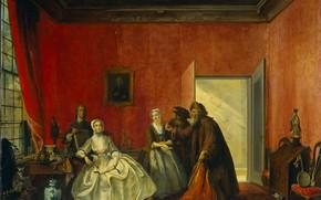 Картинка масло, картина, Корнелис Трост, Cornelis Troost, 1741, Пятая Сцена из Спектакля...