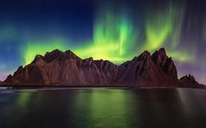 Картинка горы, северное сияние, Timothy Poulton, вечер, озеро