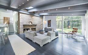 Картинка дизайн, стиль, вилла, интерьер, лестница, камин, гостиная, House in Lincoln