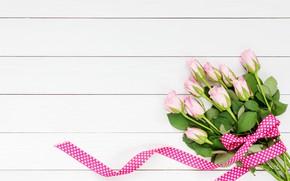 Картинка цветы, розы, букет, лента, розовые, бутоны, wood, pink, flowers, beautiful, romantic, roses