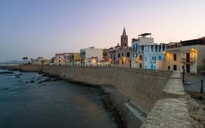 Картинка вечер, Италия, Сардиния, Альгеро