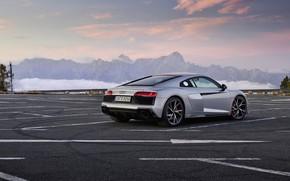 Картинка закат, горы, Audi, вечер, парковка, суперкар, Audi R8, Coupe, V10, 2020, RWD