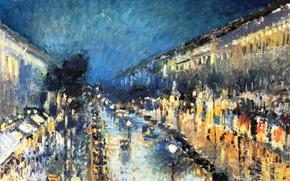 Картинка улица, дома, городской пейзаж, Camille Pissarro, Камиль Писсарро, Бульвар Монмартр ночью