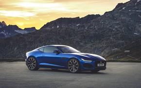 Картинка закат, горы, Jaguar, F-Type, F-Type R, 2021