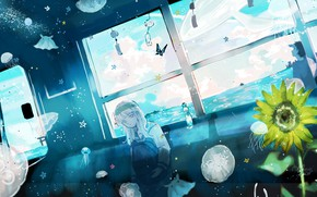 Картинка девушка, подсолнухи, поезд, фэнтези, медузы, парень
