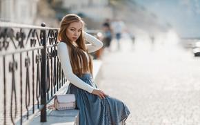 Картинка взгляд, девушка, поза, ограда, длинные волосы, Ника Гикалюк, Юлия Хандогина-Барышникова