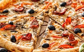 Картинка грибы, перец, овощи, пицца, оливки, колбаса