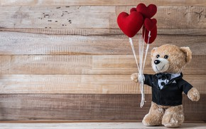 Картинка любовь, игрушка, сердце, медведь, сердечки, red, love, bear, heart, wood, romantic, teddy, valentine's day, gift, …