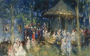 Картинка картина, жанровая, Пьер Эжен Монтезин, Pierre-Eugene Montezin, Карусель в Сен-Мамес