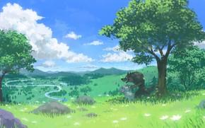 Картинка зелень, лето, природа, волк, козлёнок