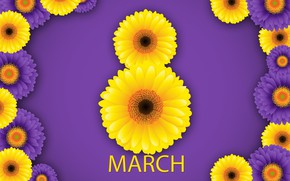 Картинка happy, 8 марта, хризантемы, flowers, женский день, women's day