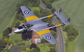 Картинка Истребитель, Vampire, RAF, De Havilland Vampire, Учебно-боевой, de Havilland Aircraft Company, De Havilland DH-115 Vampire ...