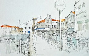 Картинка город, рисунок, Saint Martin en Ré, Le port