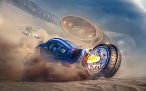 Картинка транспорт, пустыня, пыль, during dust storm, extreme rally