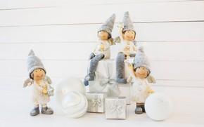 Картинка игрушки, рождество, подарки, фигурки, композиция