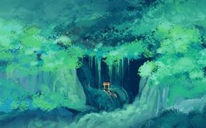 Картинка зелень, лес, Тории