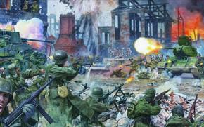 Картинка Атака, советская пехота, ППШ-41, MG-34, Marder II, MP-40, немецкая пехота, Steve Noon, M 98K, битва …