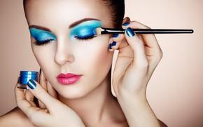 Картинка девушка, лицо, руки, макияж, тени, кисть, Oleg Gekman