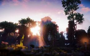 Картинка пейзаж, Закат, Солнце, Небо, Природа, Трава, Деревья, Руины, Рассвет, Horizon Zero Dawn