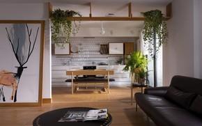 Картинка интерьер, кухня, гостиная, Apartment with Deer