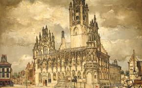 Картинка масло, картина, холст, 1940, Reimond Kimpe, Опустошённая мэрия в Мидделбурге