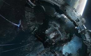 Картинка Blake Rottinger, Destroyed Space Station, Разрушенная космическая станция