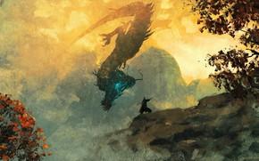 Картинка воин, живопись, дракон, Sekiro: Shadows Die Twice, Sekiro