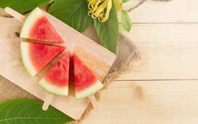 Картинка Палочки, Листья, Арбуз, ягода, доска, дольки